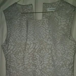 Dresses & Skirts - Calvin Klein dress,leopard print.White/beige sz 12